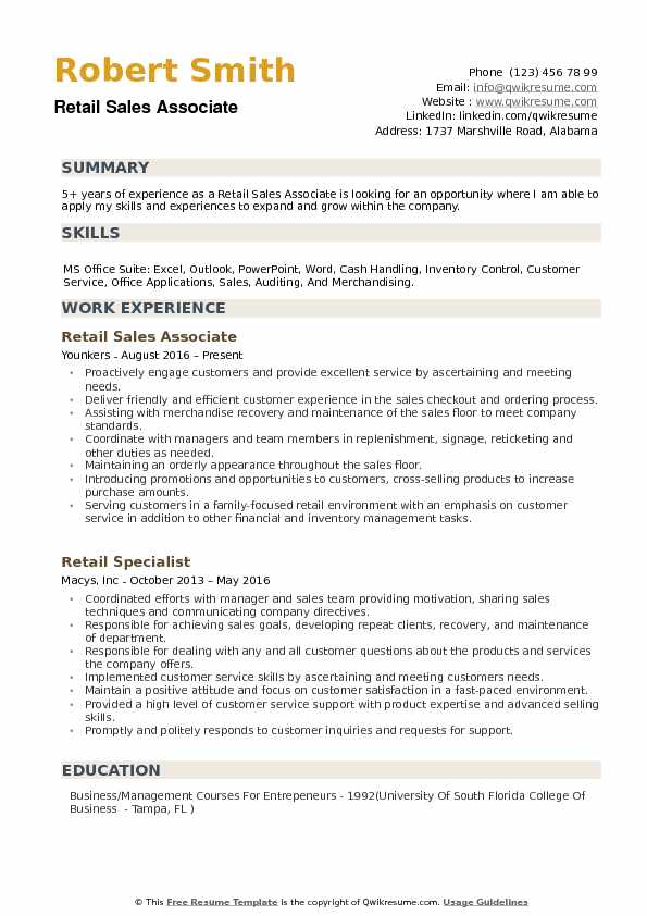 Retail Sales Associate Resume example