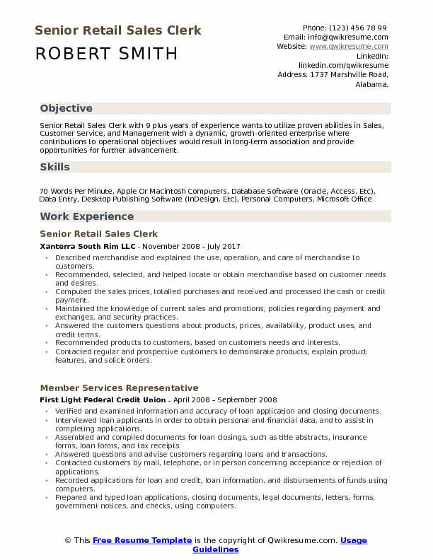 Senior Retail Sales Clerk  Resume Template