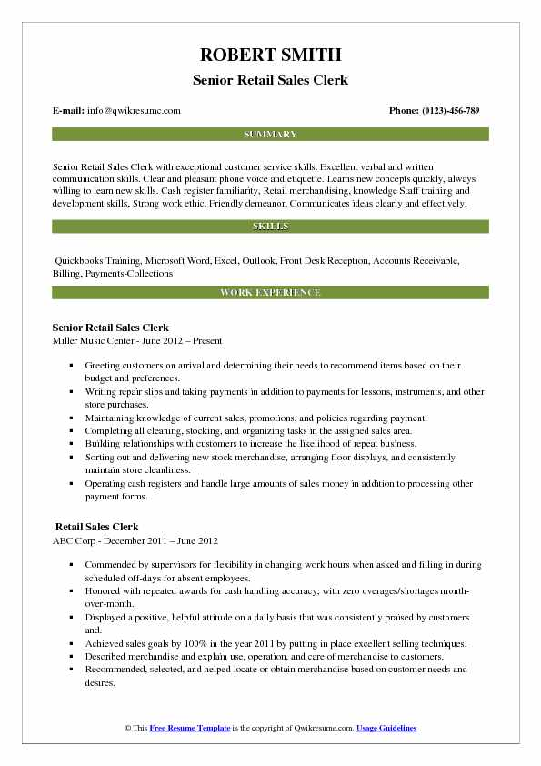 Senior Retail Sales Clerk Resume Model