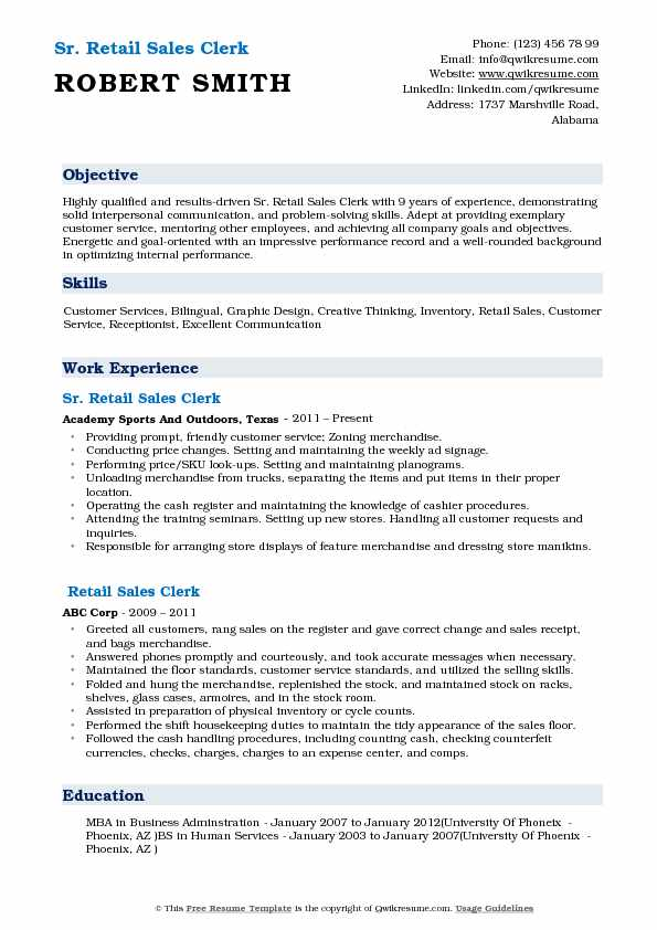 retail sales clerk resume samples