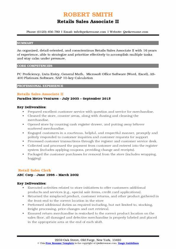 Retails Sales Associate II Resume Template
