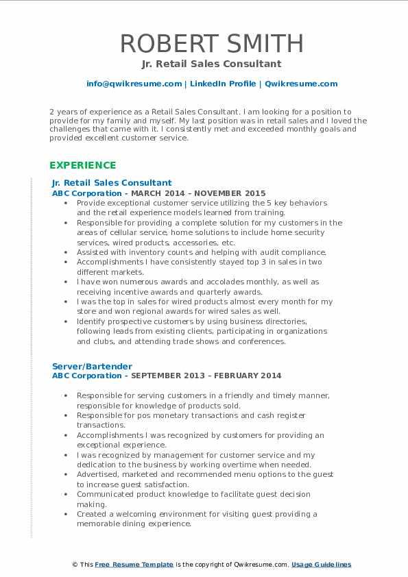 Jr. Retail Sales Consultant Resume Example