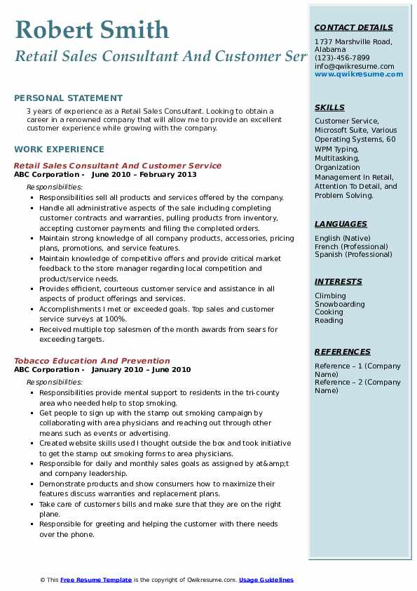 Retail Sales Consultant And Customer Service Resume Model