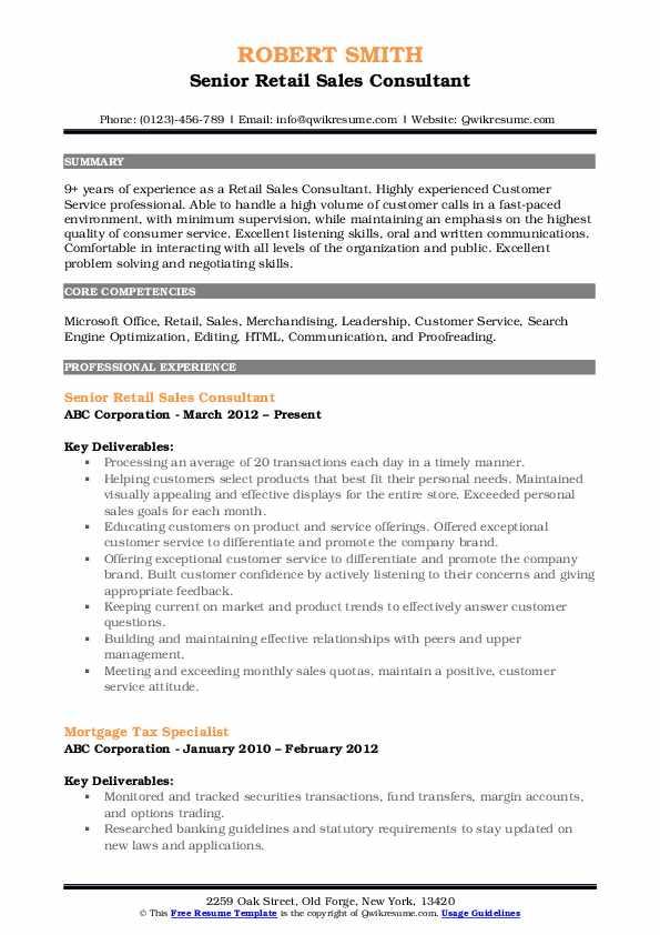 Senior Retail Sales Consultant Resume Model