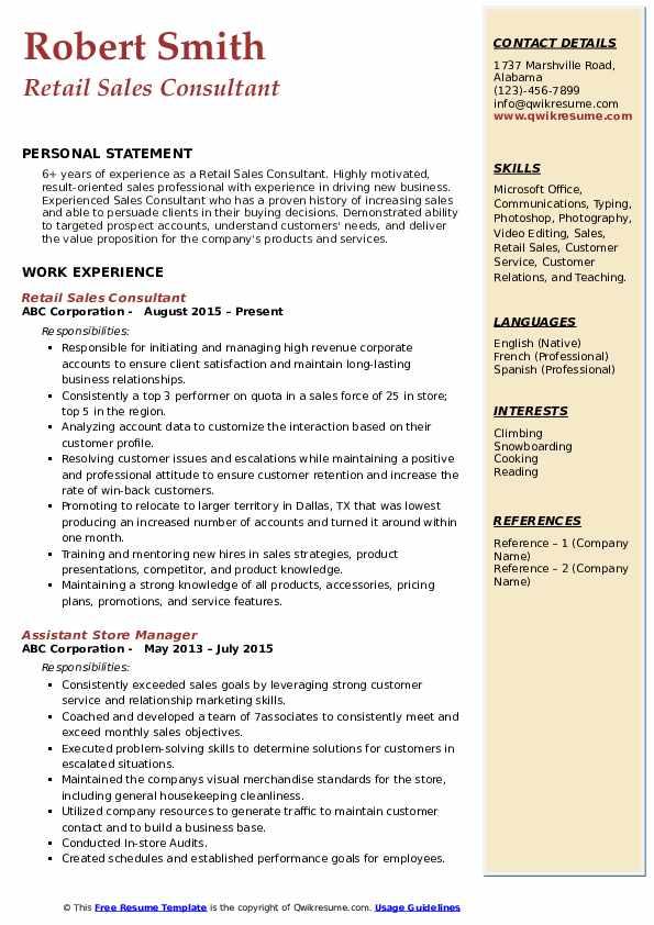 Retail Sales Consultant Resume Model