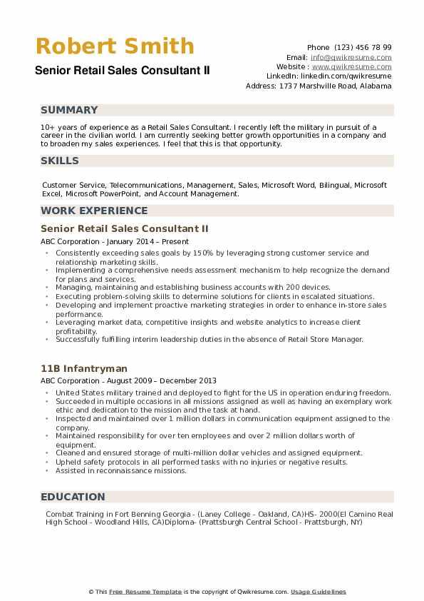 retail sales consultant resume samples