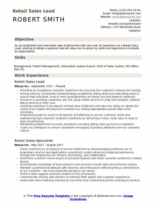Retail Sales Lead Resume Template