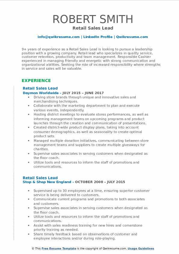 Retail Sales Lead Resume Format