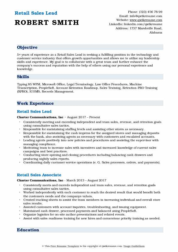 retail sales lead resume samples