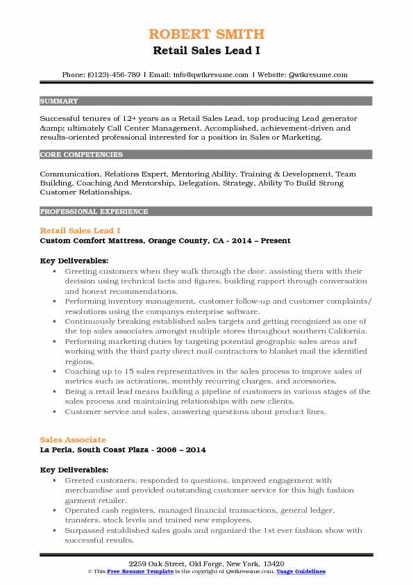 Retail Sales Lead I Resume Template
