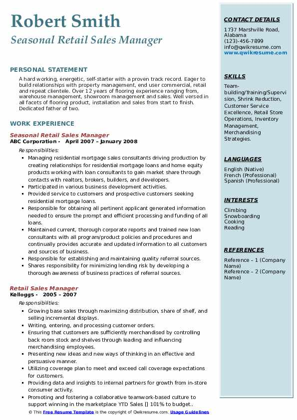 Seasonal Retail Sales Manager Resume Format
