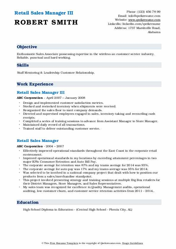 Retail Sales Manager III Resume Sample
