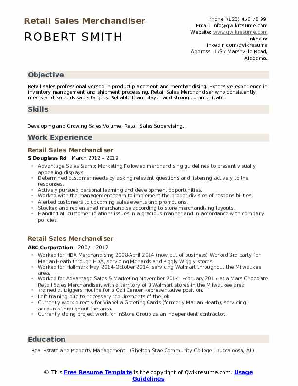 Retail Sales Merchandiser Resume example