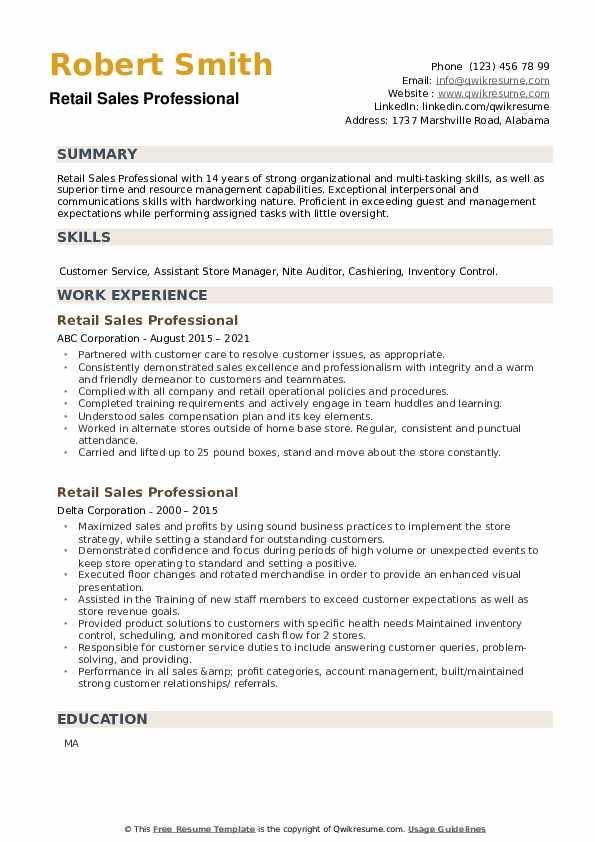 Retail Sales Professional Resume example