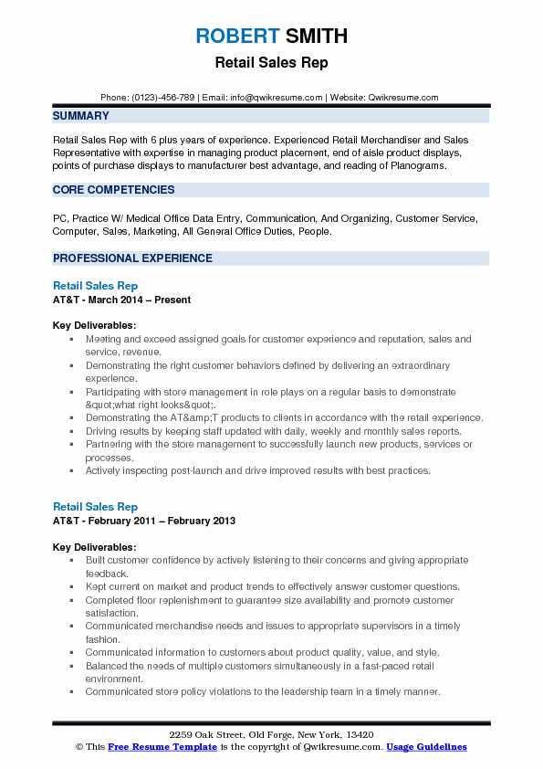 Retail Sales Rep Resume Format