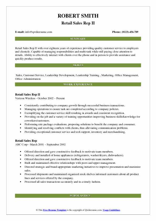 Retail Sales Rep II Resume Example