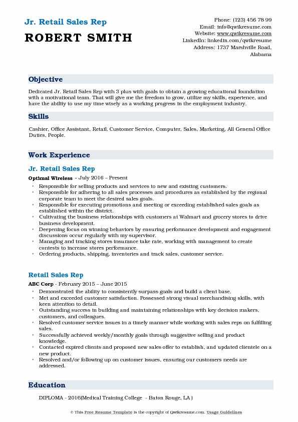 Jr. Retail Sales Rep Resume Format