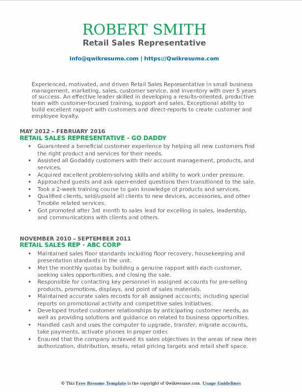 Retail Sales Representative Resume Model