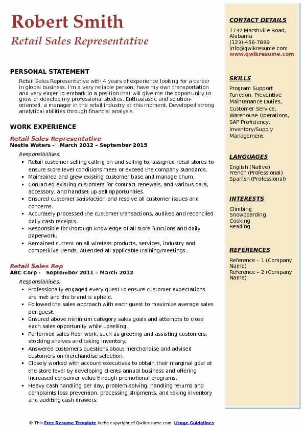 Retail Sales Representative Resume Format