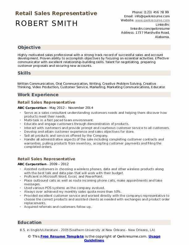 Retail Sales Representative Resume Example