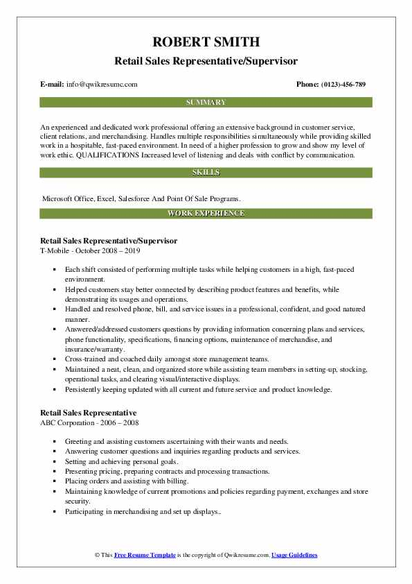 Retail Sales Representative/Supervisor Resume Format