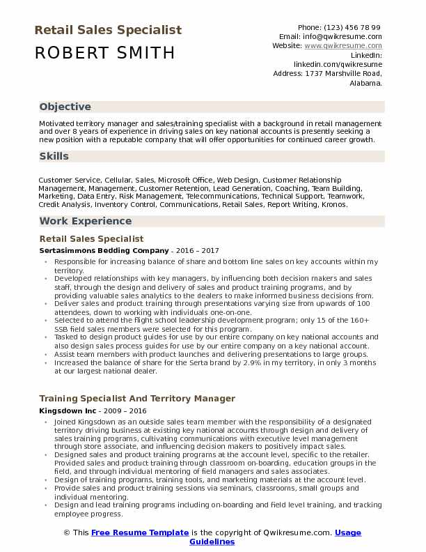 Retail Sales Specialist Resume Samples | QwikResume