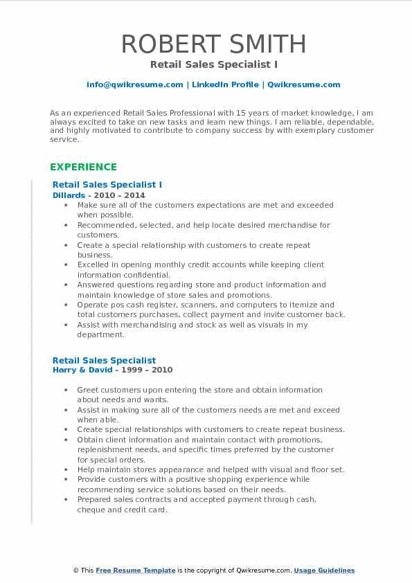 Retail Sales Specialist Resume Samples