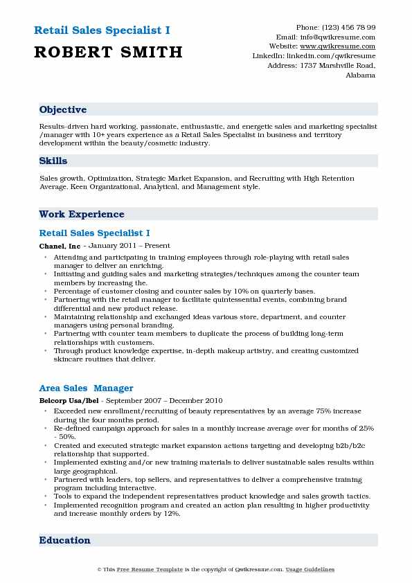 Retail Sales Specialist I Resume Template