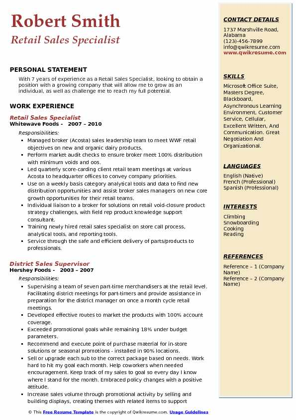 Retail Sales Specialist Resume Sample