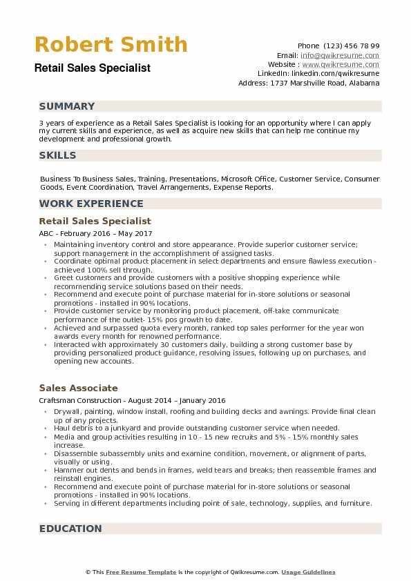 Retail Sales Specialist Resume example