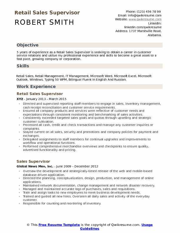 Retail Sales Supervisor Resume Format