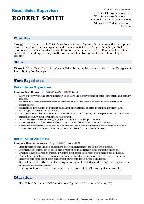 Retail Sales Supervisor Resume Template