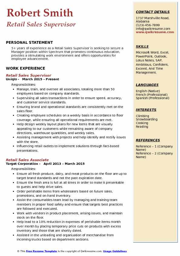Retail Sales Supervisor Resume Example