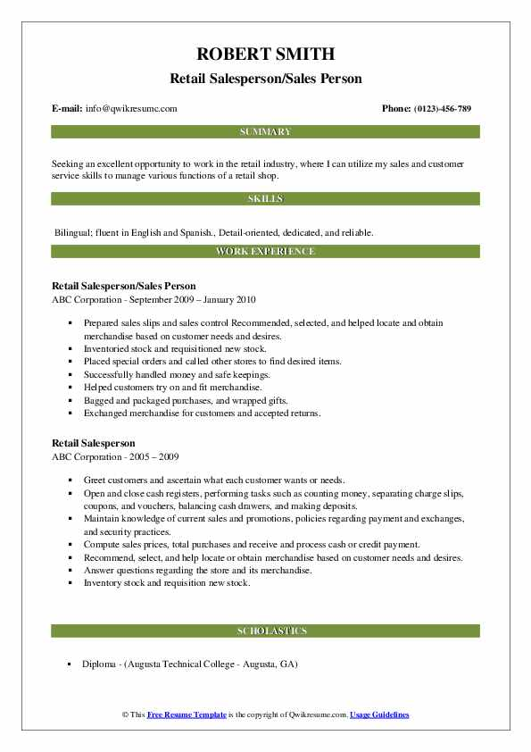 Retail Salesperson/Sales Person Resume Format