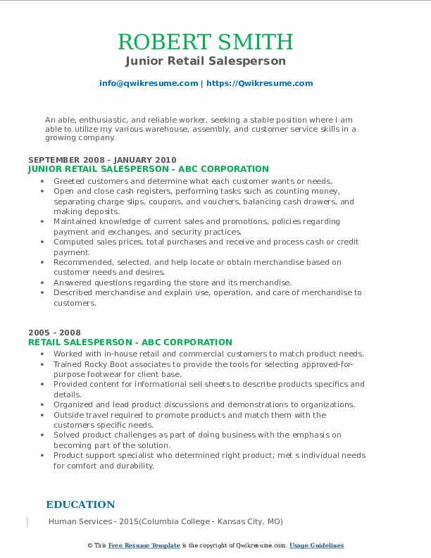 Junior Retail Salesperson Resume Format