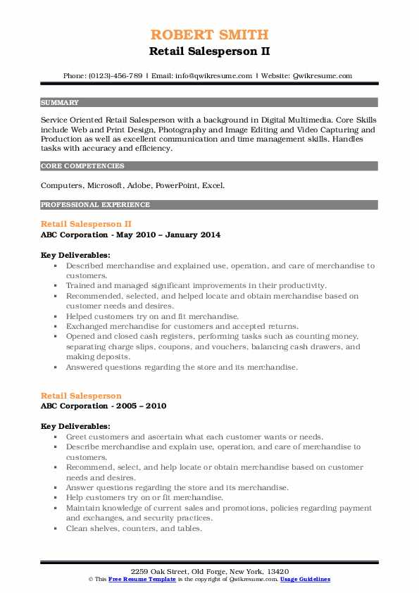 Retail Salesperson II Resume Template