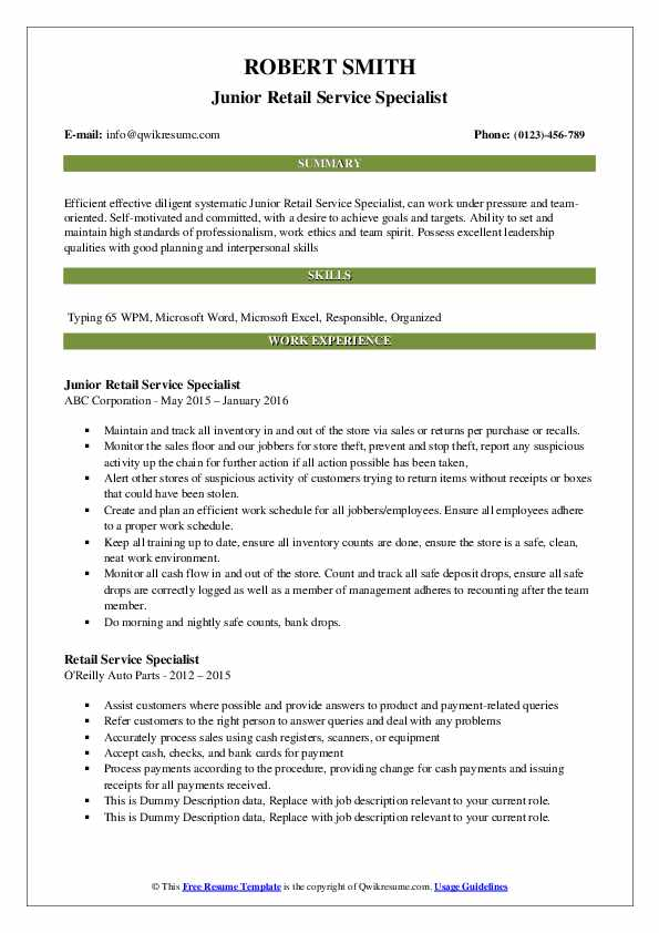 Junior Retail Service Specialist Resume Template