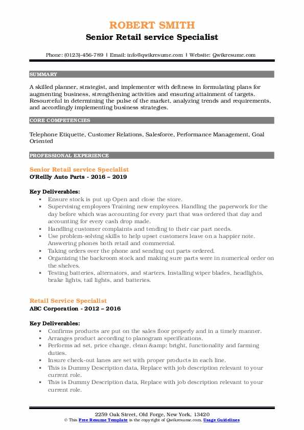 Senior Retail service Specialist Resume Example
