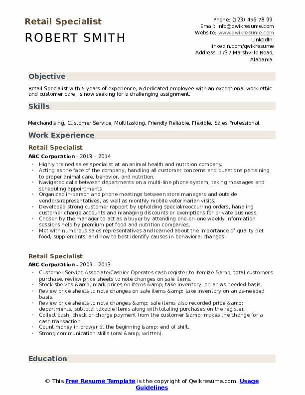 Retail Specialist Resume Template