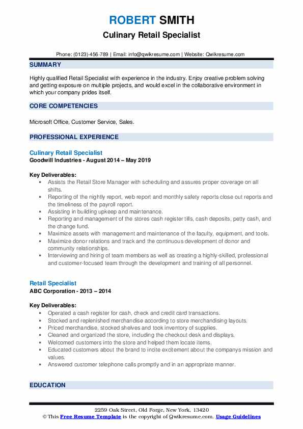 Culinary Retail Specialist Resume Example