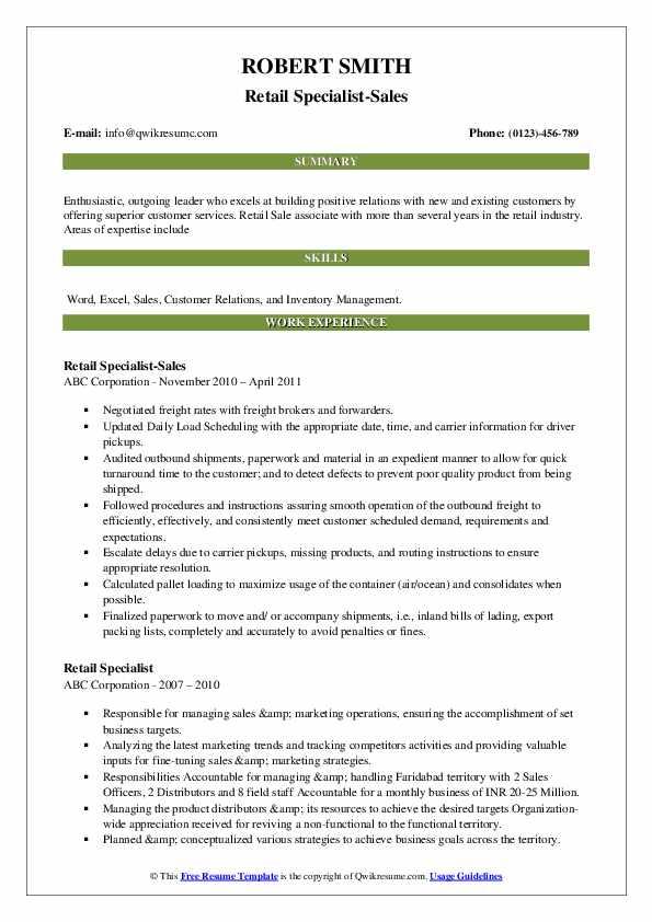 Retail Specialist-Sales Resume Model