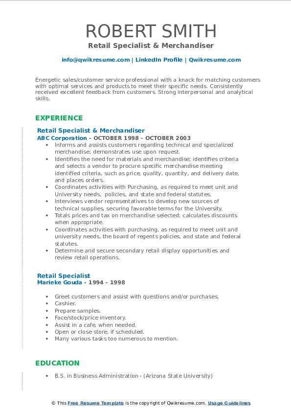 Retail Specialist & Merchandiser Resume Format