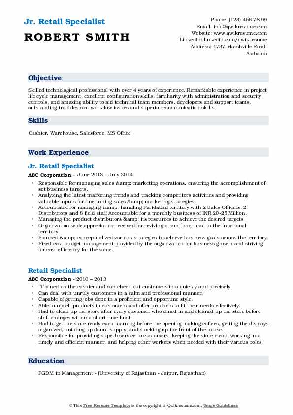 Jr. Retail Specialist Resume Example