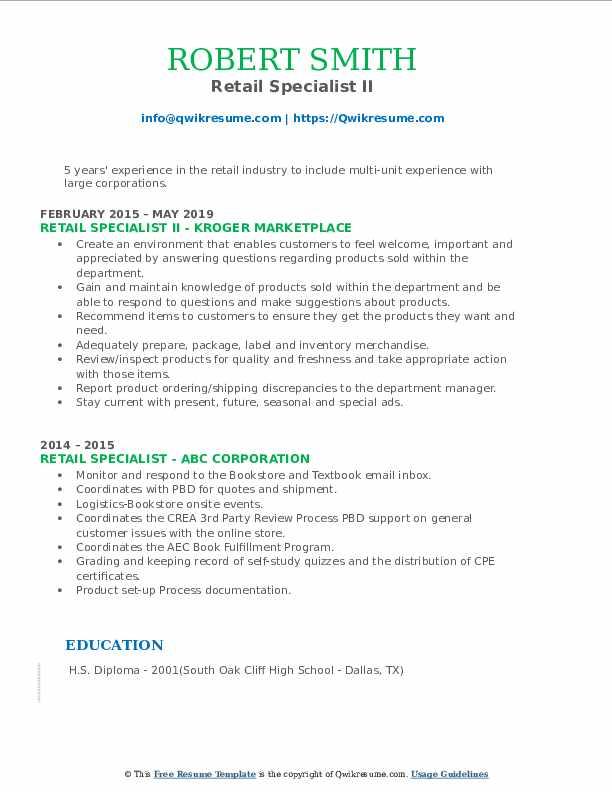 Retail Specialist II Resume Format