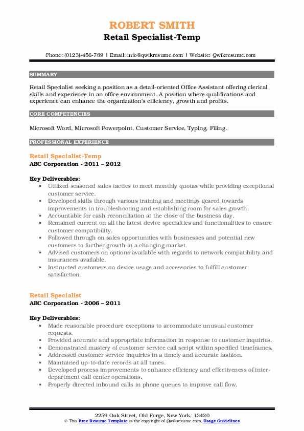 Retail Specialist-Temp Resume Example