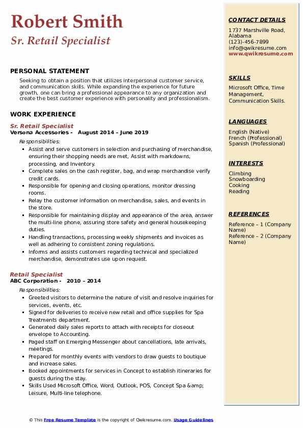 Sr. Retail Specialist Resume Format
