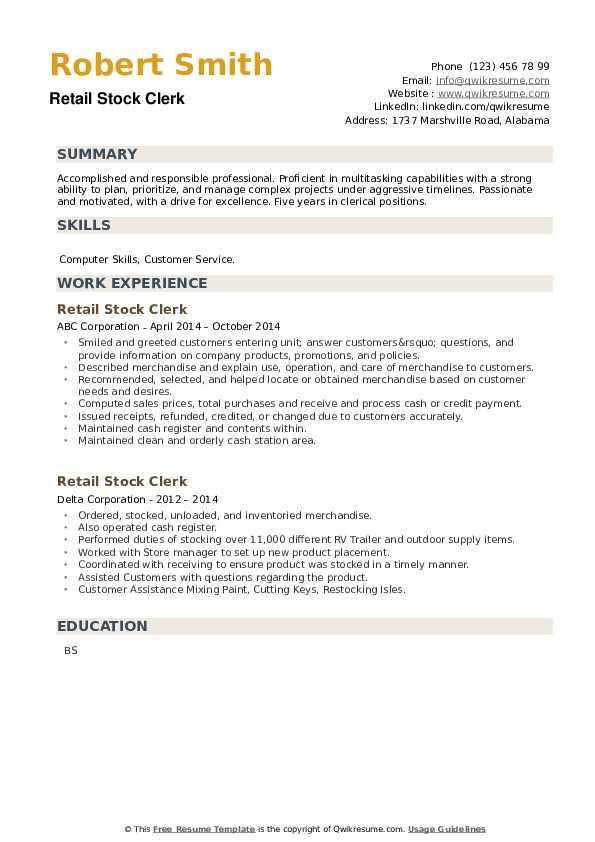 Retail Stock Clerk Resume example