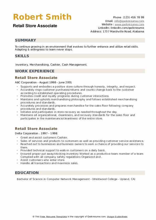 Retail Store Associate Resume example
