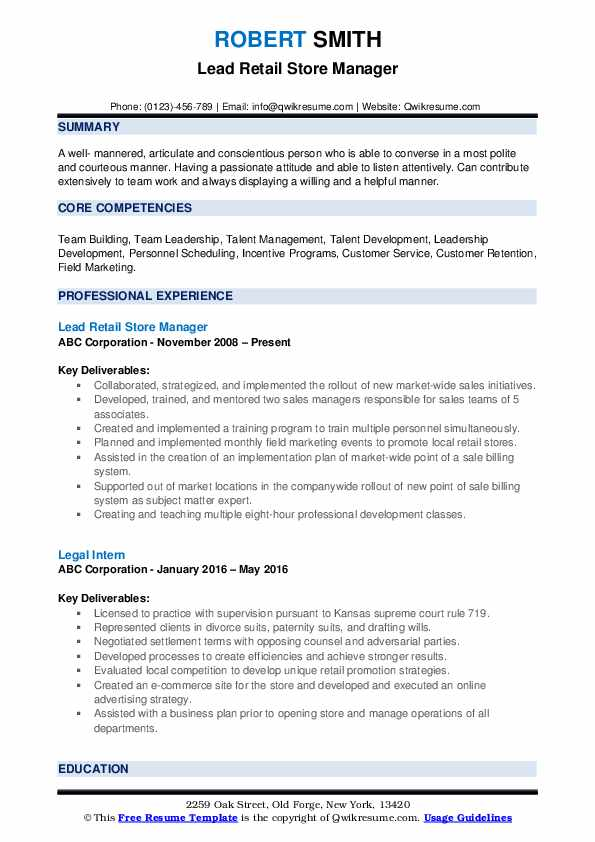 Lead Retail Store Manager Resume Sample