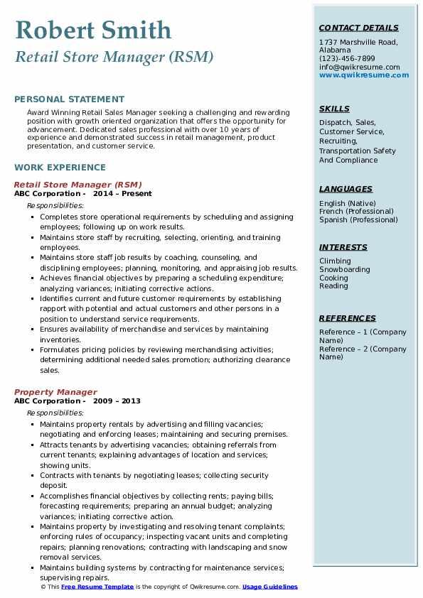 Retail Store Manager (RSM) Resume Format
